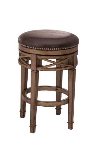 Chesterfield Backless Swivel Counter Stool - Gold Metallic Silver - Charcoal Faux Leather