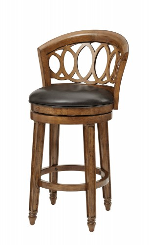 Adelyn Swivel Bar Stool - Brown Cherry Finish