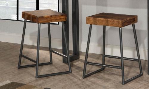 Emerson Non-Swivel Backless Counter Stool - Natural Sheesham Wood/Gray Metallic