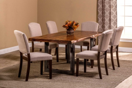 Emerson 7-Piece Rectangle Dining Set - Natural Sheesham/Gray Coat/Black