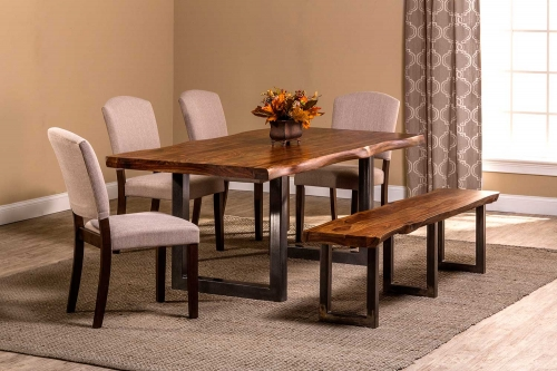 Emerson 6-Piece Rectangle Dining Set - Natural Sheesham/Gray Powder Coat