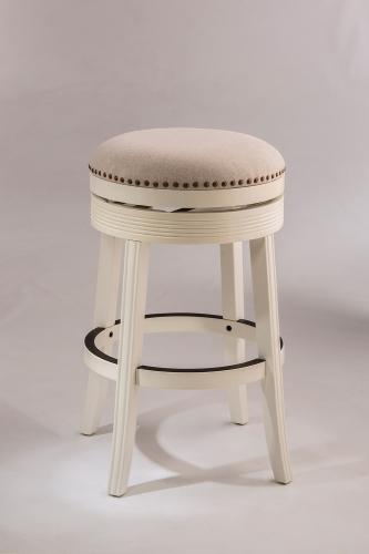 Tillman Backless Swivel Counter Stool - White - Beige Fabric