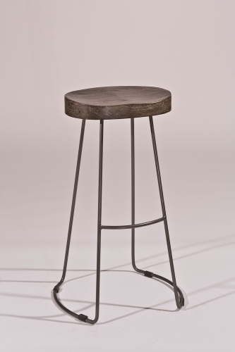 Hobbs Tractor Non-Swivel Bar Stool - Distressed Black/Pewter