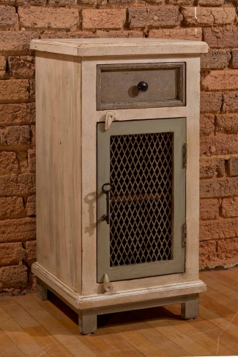 LaRose One Drawer One Door Cabinet with Chicken Wire - Dover Gray/White