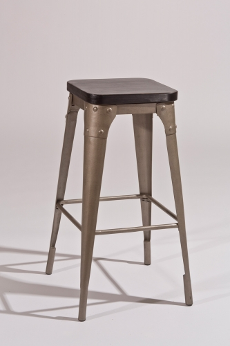 Morris Backless Counter Stool - Dark Gray/Black Wood