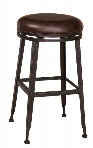 Hale Backless Swivel Bar Stool - Black/Copper Highlight