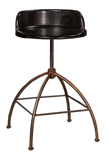 Bridgewater Adjustable Stool - Rubbed Black Wood/Zinc Metal