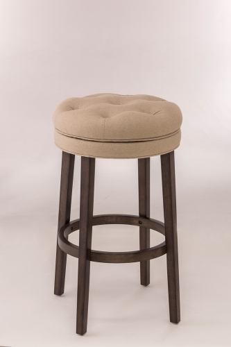 Krauss Backless Swivel Counter Stool - Linen Stone Fabric