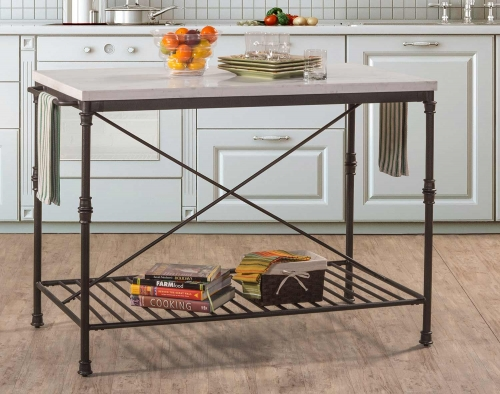 Castille Metal Kitchen Island - Textured Black/White Marble Top