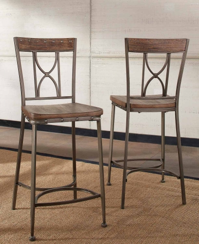 Paddock Non-Swivel Counter Height Stool - Brushed Steel Metal/Distressed Brown