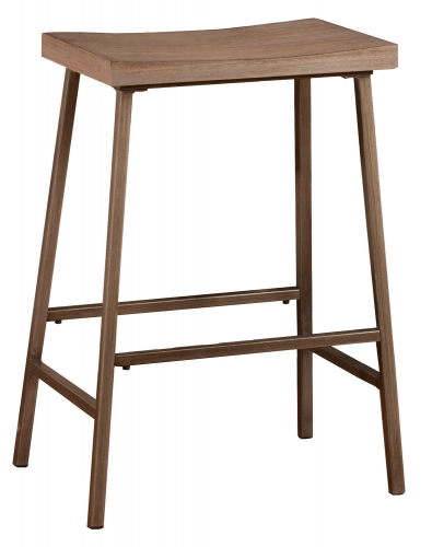 Kennon Backless Non-Swivel Counter Stool - Brown Metal/Distressed Brown Gray Finished Top