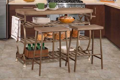 Paddock 3 Piece Kitchen Cart Set with 2 Kennon Stools - Steel Metal/Brown-Gray