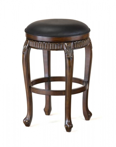 Fleur De Lis Swivel Wood Counter Stool - Backless