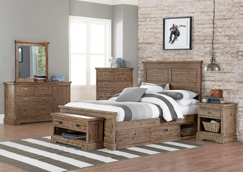 Oxford William Panel Bedroom Set With Storage - Cocoa