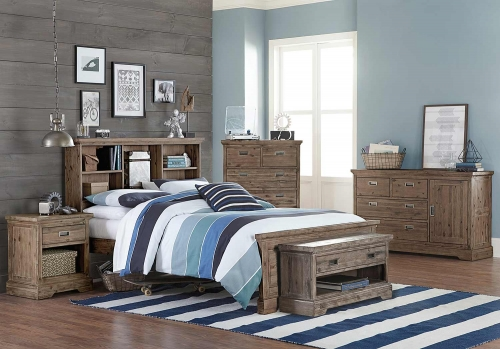 Oxford Bookcase Bedroom Set - Cocoa