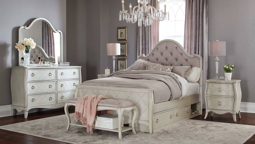 Angela Arc Upholstered Bedroom Set With Storage Unit - Opal Grey