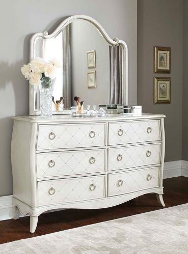 Angela 6 Drawer Dresser With Wood Arc Mirror - Opal Grey