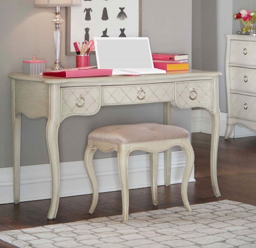 Angela Desk With Stool - Opal Grey