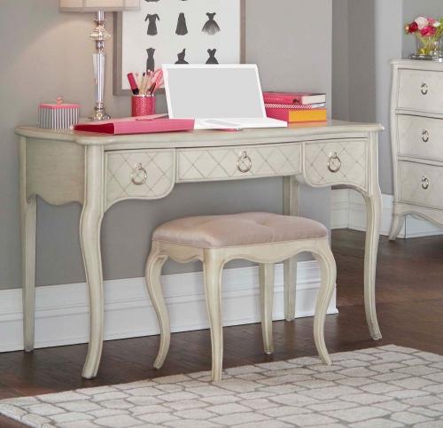 Angela Desk With Stool - Opal Grey