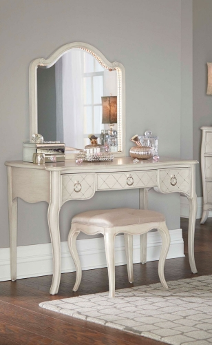 Angela Desk With Arc Lighted Vanity Mirror And Stool - Opal Grey