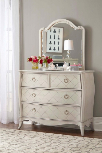 Angela 4 Drawer Chest With Wood Arc Mirror - Opal Grey