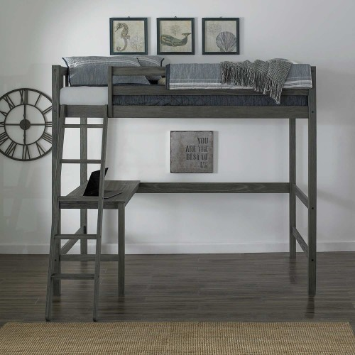 Crosswinds Complete Twin Loft Bed - Wirebrush Gray