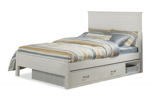 Highlands Alex Flat Panel Bed with Storage Unit - White