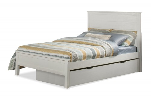 Highlands Alex Flat Panel Bed with Trundle - White