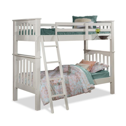 Highlands Harper Twin/Twin Bunk Bed with Hanging Nightstand - White Finish