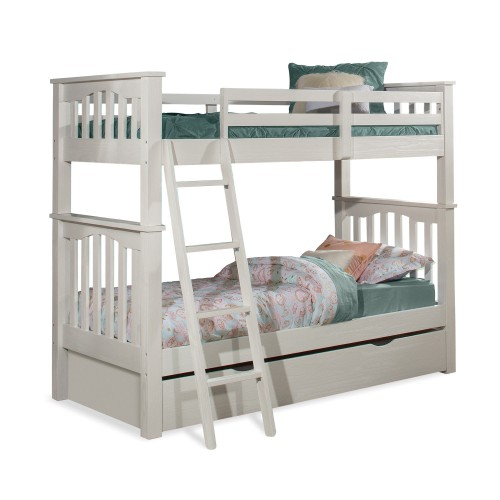 Highlands Harper Twin/Twin Bunk Bed with Trundle - White Finish