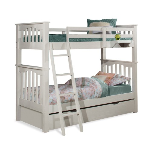 Highlands Harper Twin/Twin Bunk Bed with Trundle and Hanging Nightstand - White Finish