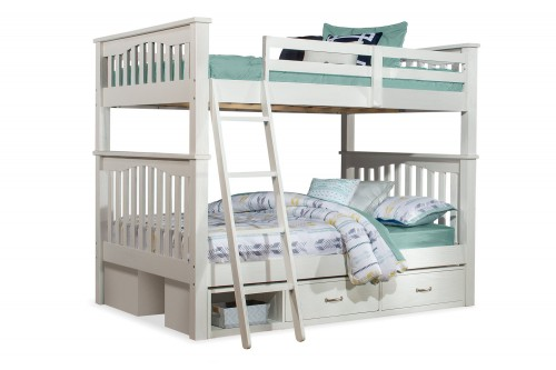 Highlands Harper Full/Full Bunk Bed with (2) Storage Units - White Finish