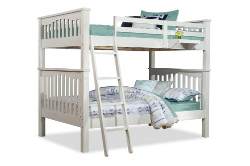 Highlands Harper Full/Full Bunk Bed and Hanging Nightstand - White Finish