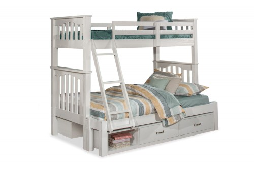 Highlands Harper Twin/Full Bunk Bed with (2) Storage Units - White Finish