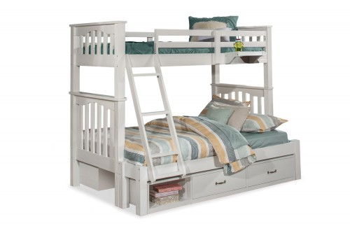 Highlands Harper Twin/Full Bunk Bed with (2) Storage Units and Hanging Nightstand - White Finish