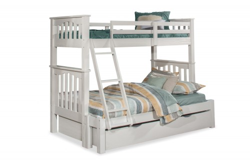 Highlands Harper Twin/Full Bunk Bed with Trundle - White Finish