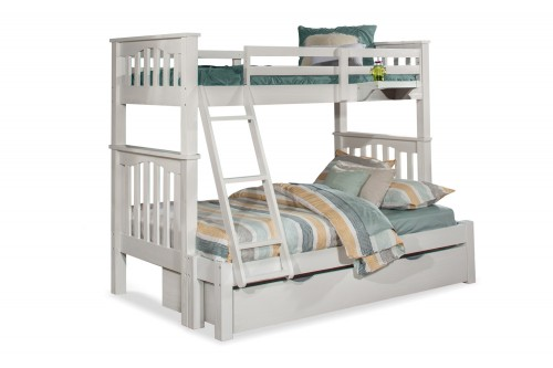 Highlands Harper Twin/Full Bunk Bed with Trundle and Hanging Nightstand - White Finish