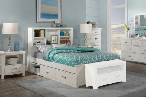 Highlands Bookcase Bedroom Set with (2) Storage Units - White