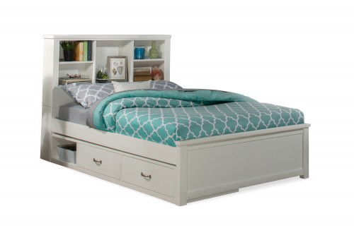 Highlands Bookcase Bed with Storage Unit - White