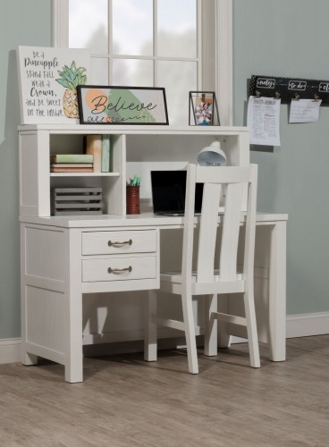 Highlands Desk with Hutch and Chair - White Finish