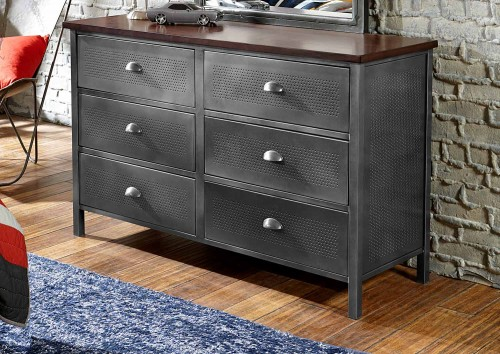 Urban Quarters Dresser - Black Steel/Antique cherry