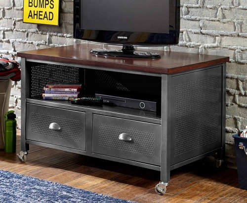 Urban Quarters Media Chest - Black Steel/Antique cherry