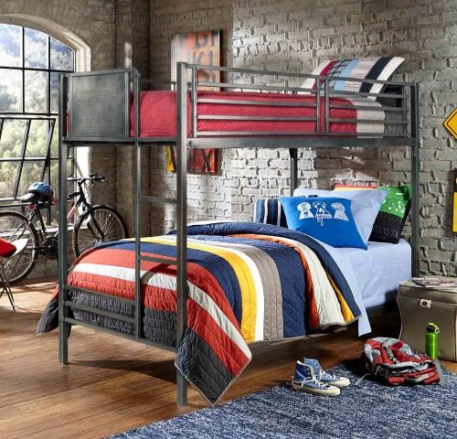 Urban Quarters Twin/Twin Bunk Bed - Black Steel