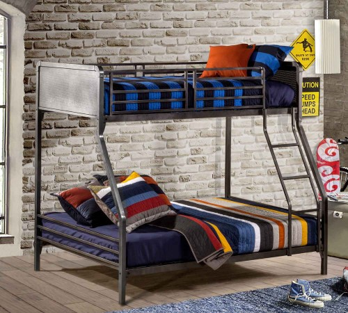 Urban Quarters Twin/Full Bunk Bed - Black Steel