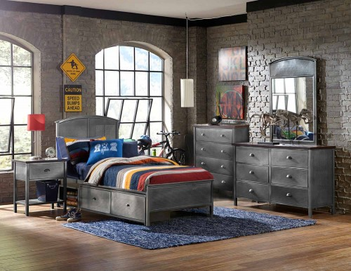 Urban Quarters Panel Storage Bedroom Set - Black Steel
