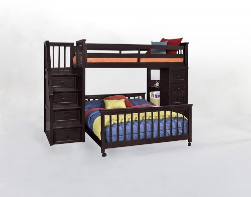 SchoolHouse Twin Stair Loft Bed with Chest End and Full Lower Bed - Chocolate