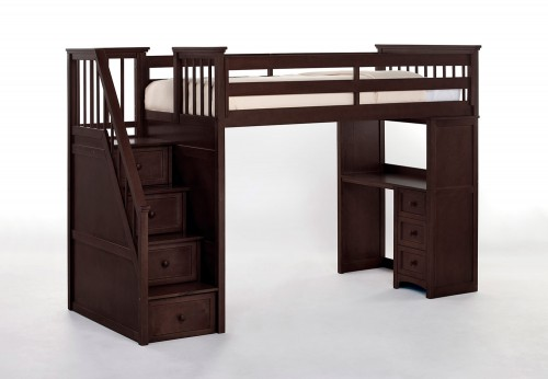 School House Stair Loft Bed with Desk End - Chocolate