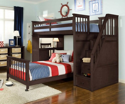 SchoolHouse Twin Stair Loft Bed with Desk End and Full Lower Bed - Chocolate