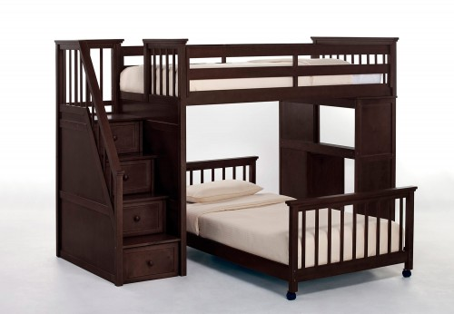 SchoolHouse Twin Stair Loft Bed with Desk End and Twin Lower Bed - Chocolate