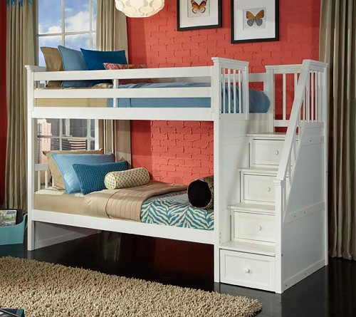 SchoolHouse Stair Bunk Bed - White Finish